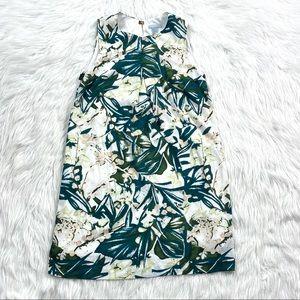 H&M Floral Chiffon Shift Dress Tropical Palm